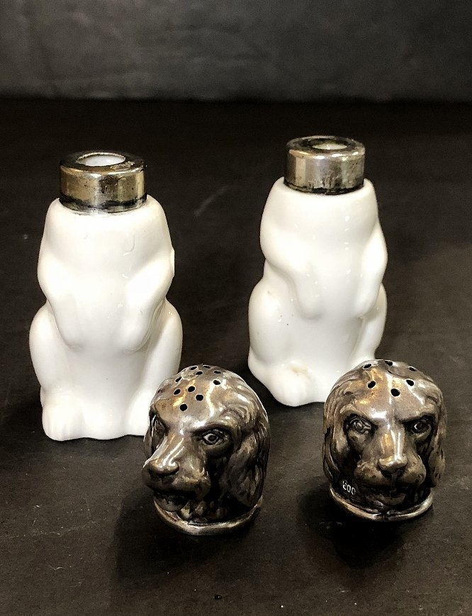 KPM and 800 silver salt and pepper dogs, c.1920 - 4