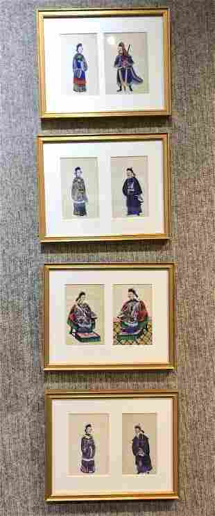 Group of 4 framed Chinese pith paintings, c.1900