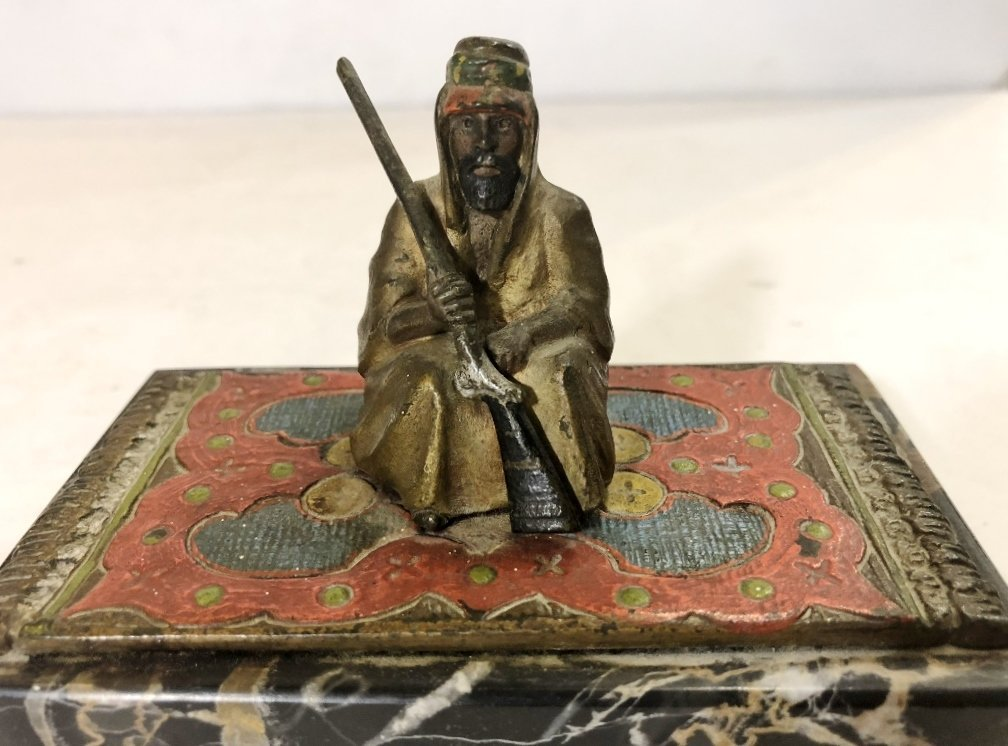 Austrian bronze, Arab on carpet, c.1925 - 5
