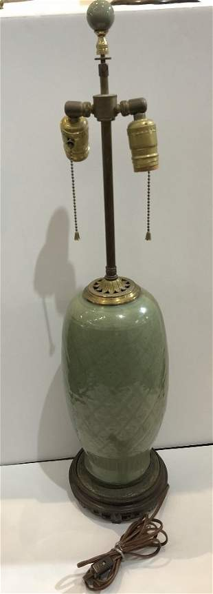 Chinese celadon lamp, c.1920