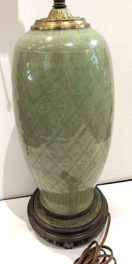 Chinese celadon lamp, c.1920 - 2