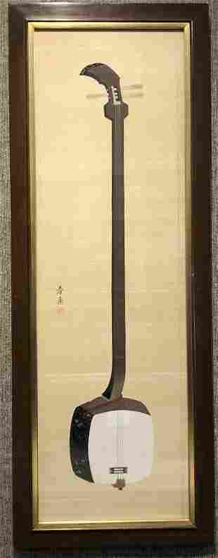 Japanese ptg silk of Shamisen(banjo) by Shunpo