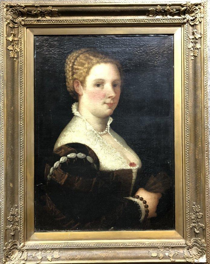 Portrait painting of 16th century woman, c.1850