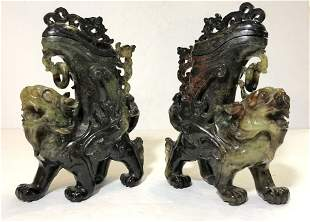 Pair Chinese hardstone carvings of mythical beasts