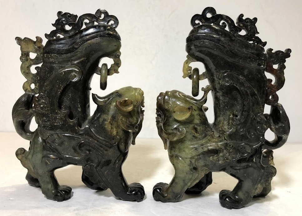 Pair Chinese hardstone carvings of mythical beasts - 4