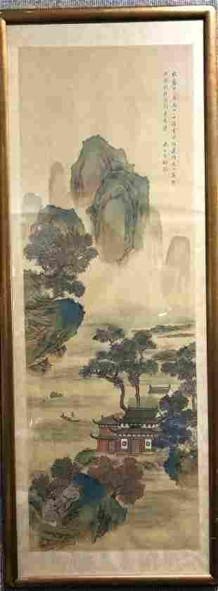Chinese Zhou Bai Chang painted scoll, c.1900