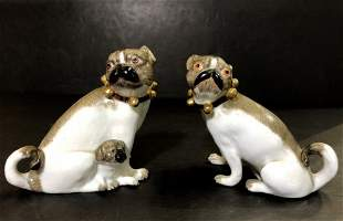 Pair of pug dogs, French, c.1900