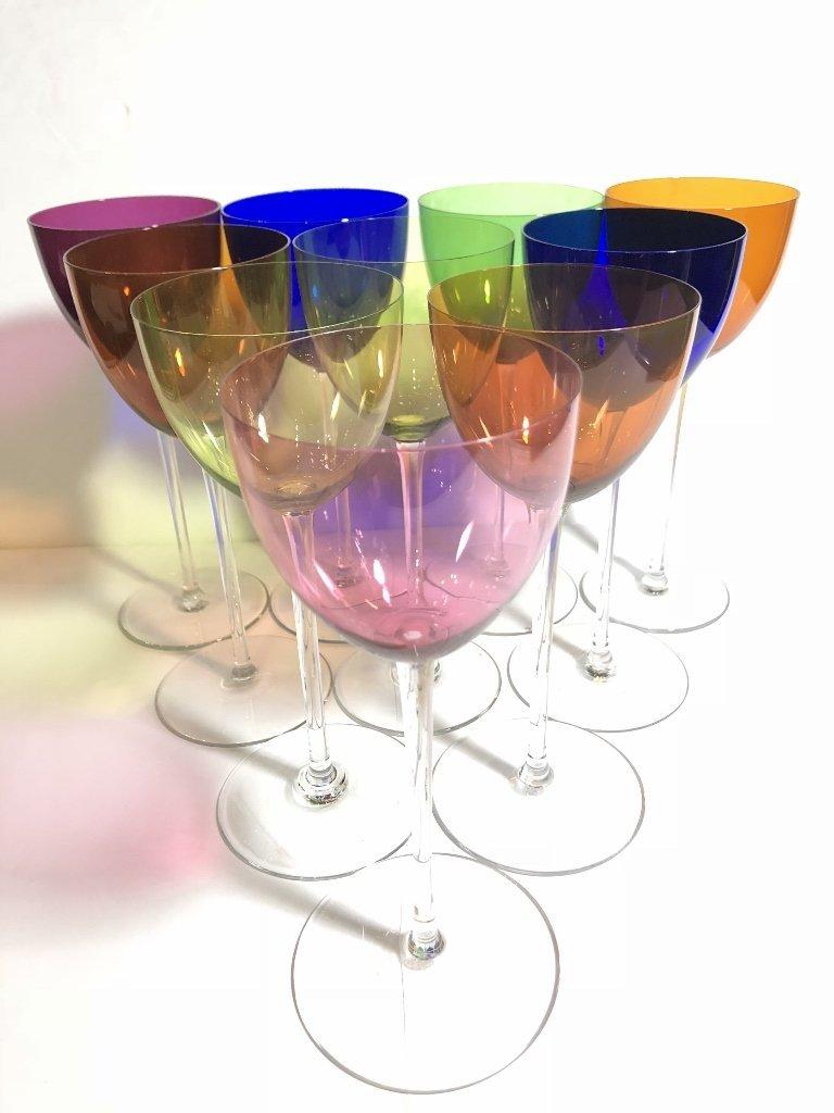 Ten Baccarat colored wine glasses