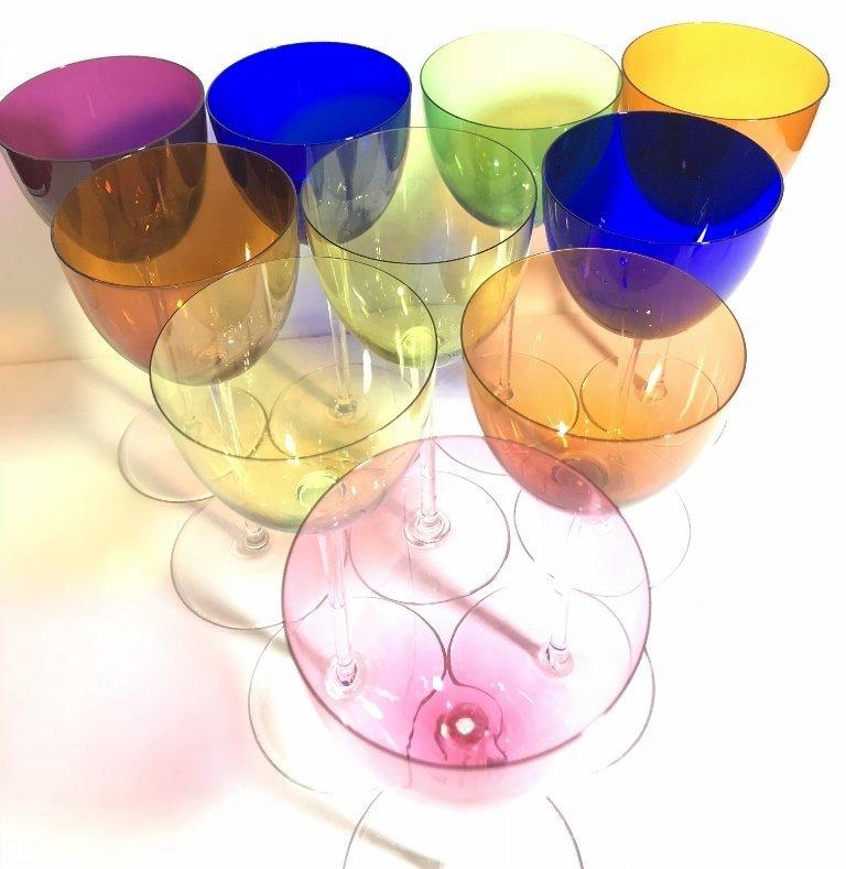 Ten Baccarat colored wine glasses - 2