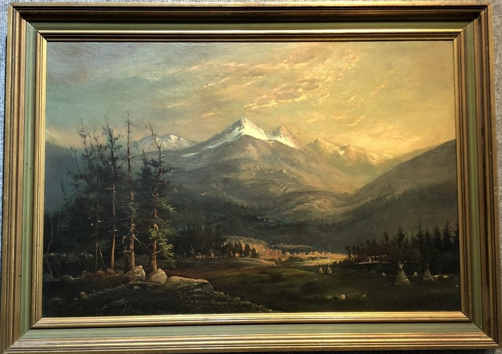 """Painting of Indian encampment signed:""""Collis 1880"""""""