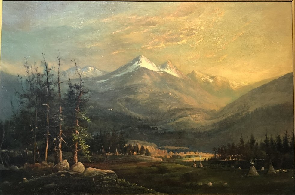"""Painting of Indian encampment signed:""""Collis 1880"""" - 2"""