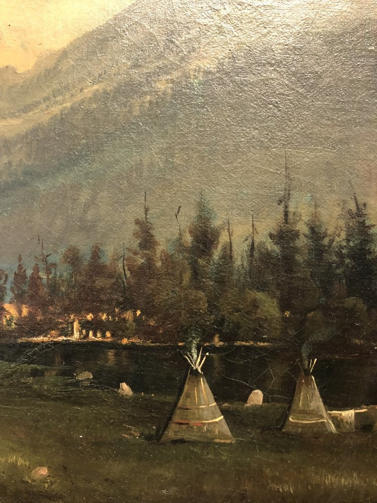 """Painting of Indian encampment signed:""""Collis 1880"""" - 5"""