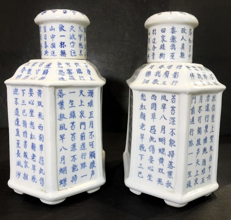 Pair of porcelain Chinese tea caddies, c.1930 - 2