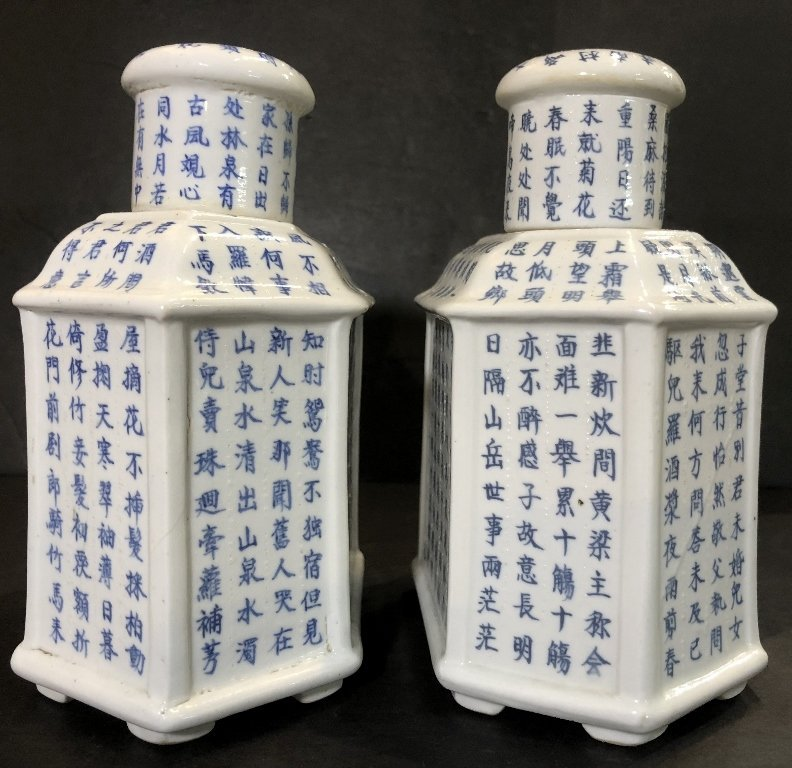 Pair of porcelain Chinese tea caddies, c.1930 - 4