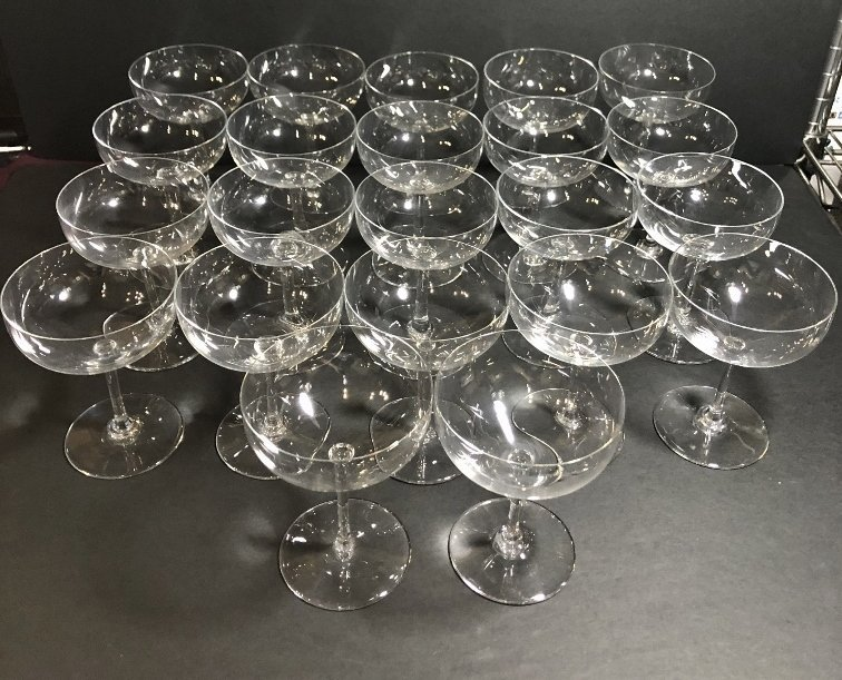 Twenty two Baccarat champagne glasses circa 1995