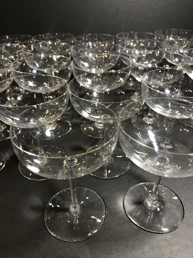 Twenty two Baccarat champagne glasses circa 1995 - 2