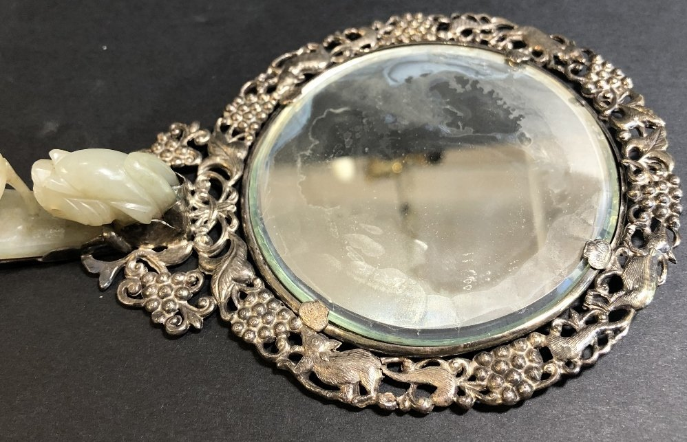 Chinese silver and jade mirror, .c1900 - 4