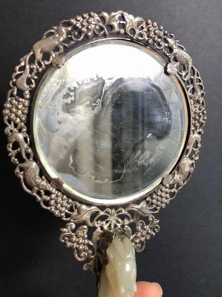 Chinese silver and jade mirror, .c1900 - 5