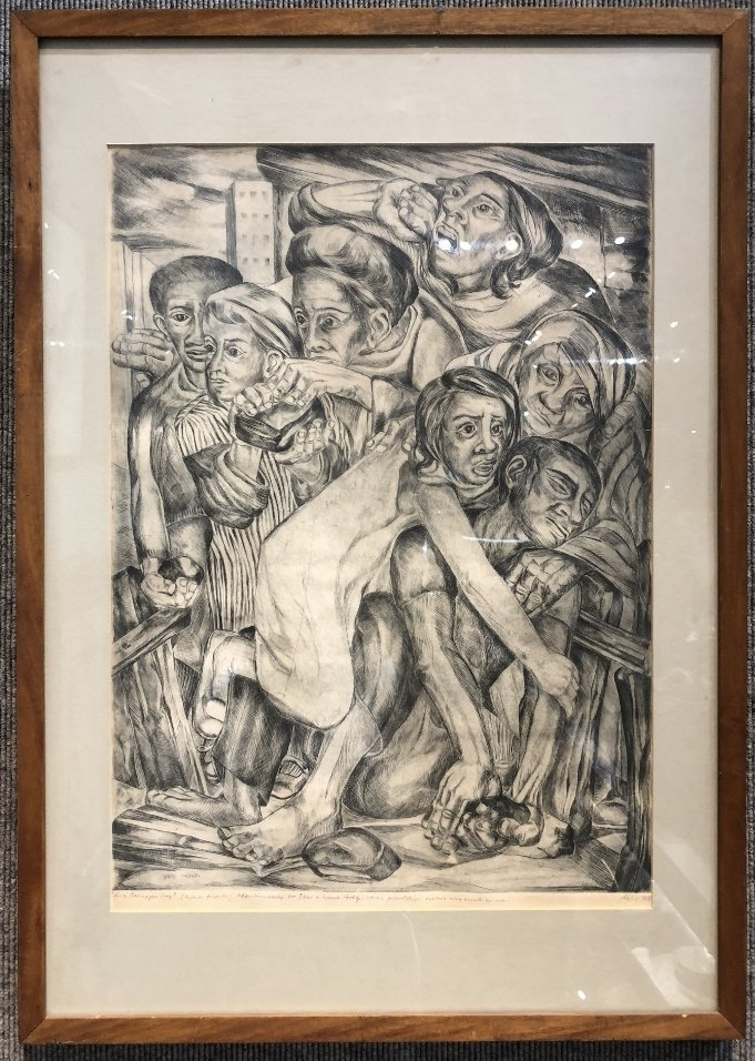 """Litho of crowd, signed """"Lila 1948"""" or """"Lilo 1948"""""""