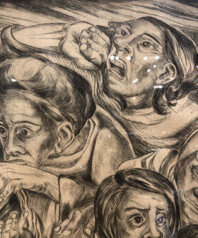 """Litho of crowd, signed """"Lila 1948"""" or """"Lilo 1948"""" - 8"""