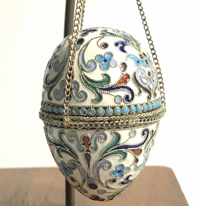 Russian silver & enamel egg on 14k chains,14.4dwts