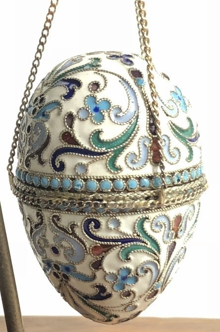 Russian silver & enamel egg on 14k chains,14.4dwts - 4