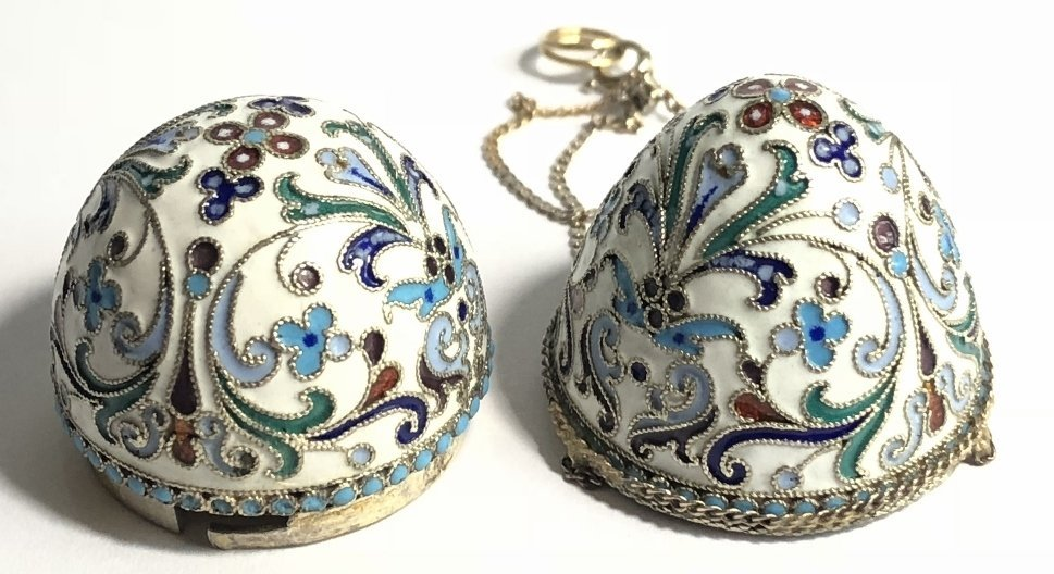 Russian silver & enamel egg on 14k chains,14.4dwts - 7