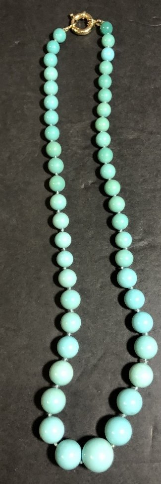 Large turquoise necklace, GIA report, c.1985 - 2