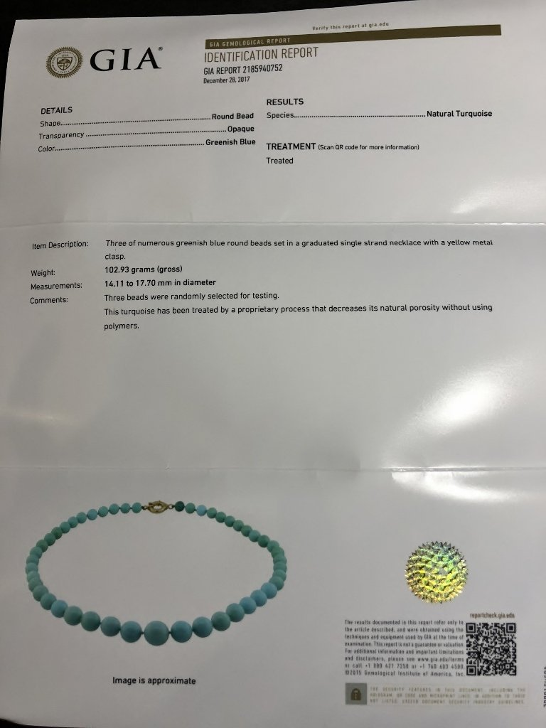 Large turquoise necklace, GIA report, c.1985 - 8