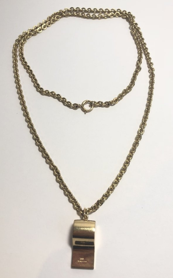 18k Tiffany & Co whistle on 14k gold chain, 22.7dwts - 2