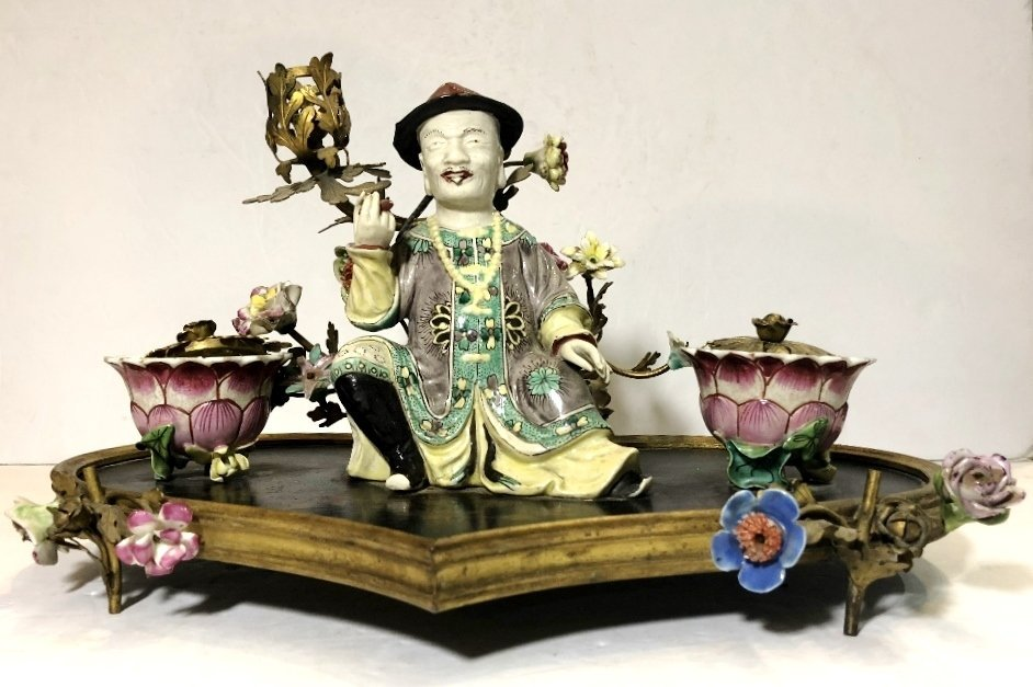 18/19th cen French inkwell, with Chinese figure
