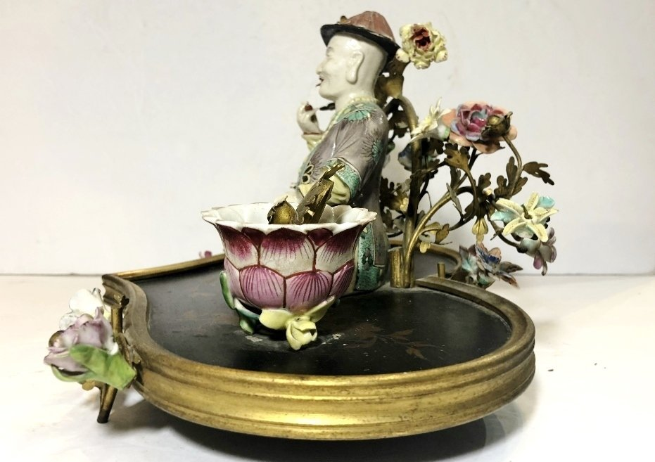 18/19th cen French inkwell, with Chinese figure - 2