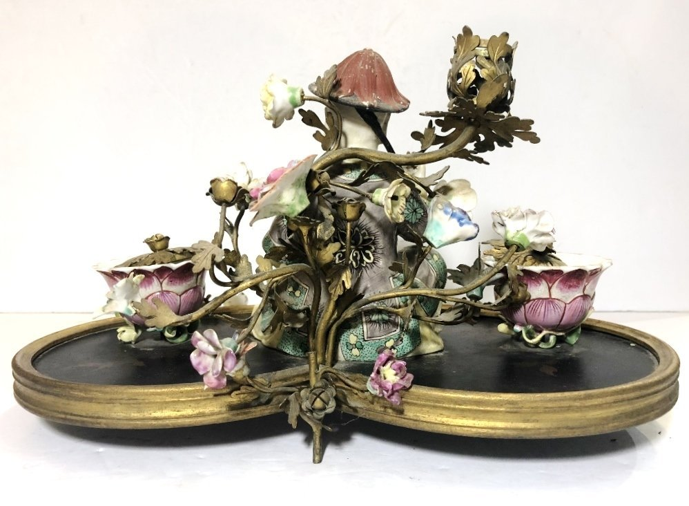 18/19th cen French inkwell, with Chinese figure - 3