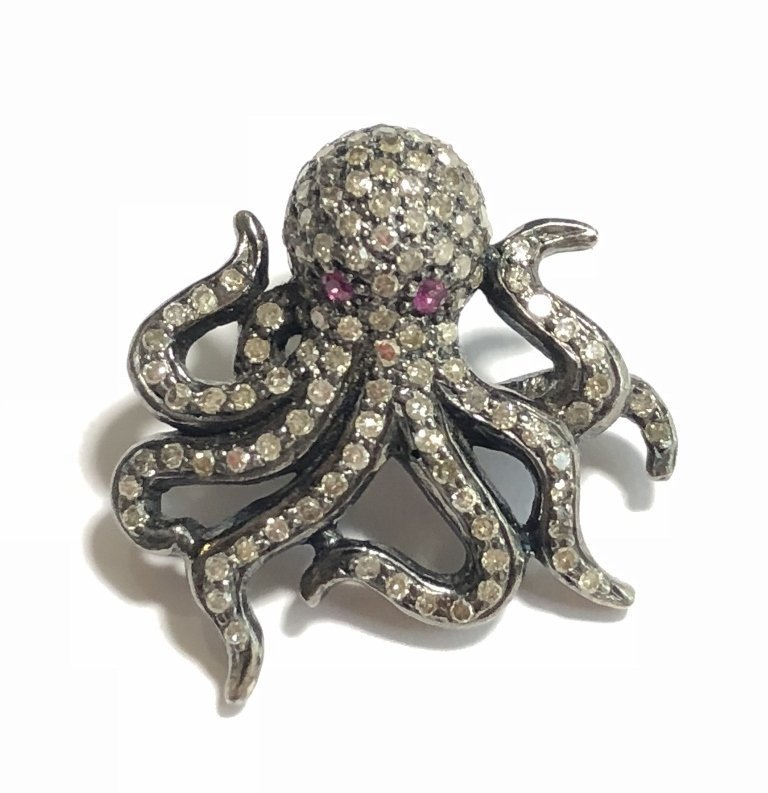 Silver and diamond octopus pendant, 3 dwts