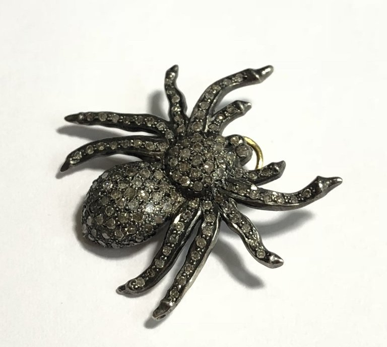 Silver and diamond spider pendant, 2.5 dwts - 2