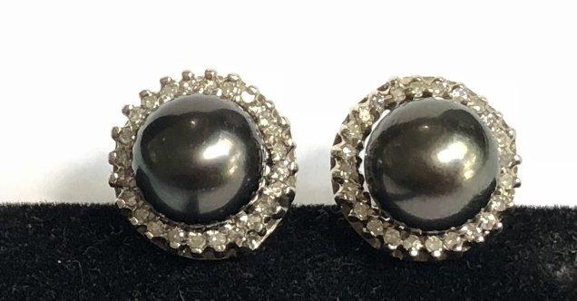 14k black pearl and diamond earrings, 3.2 dwts - 2