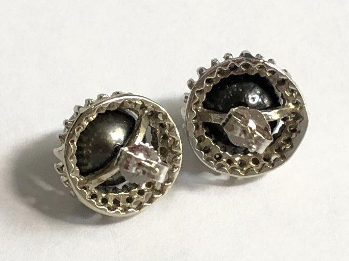 14k black pearl and diamond earrings, 3.2 dwts - 4