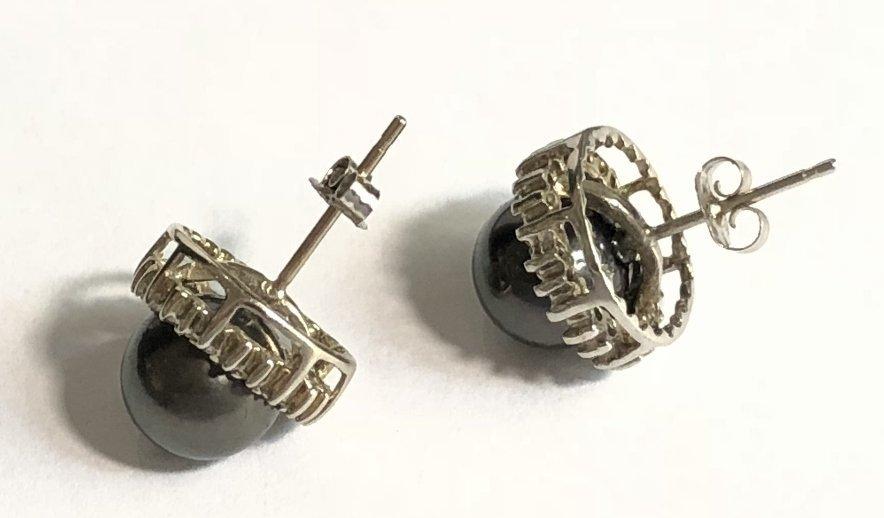 14k black pearl and diamond earrings, 3.2 dwts - 5