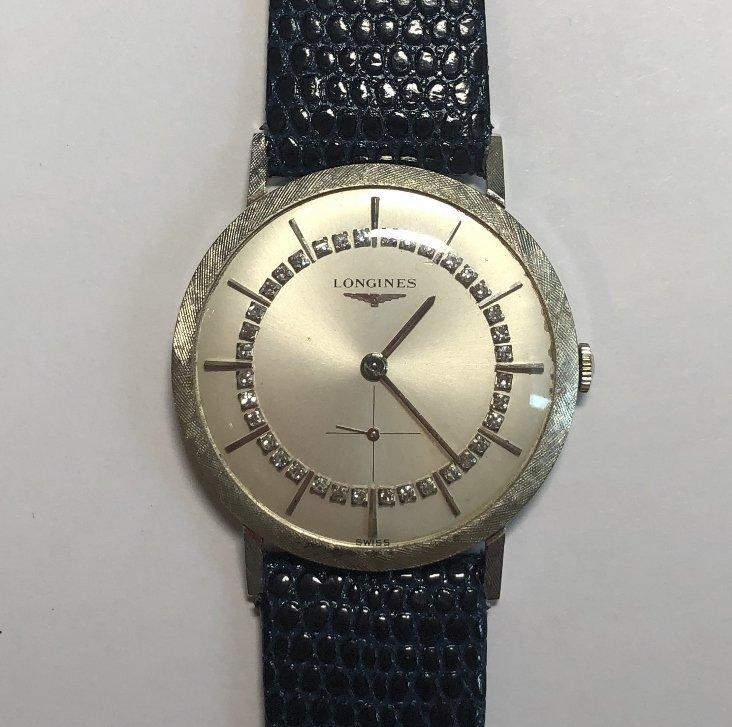 14k diamond Longines watch, c.1965 - 2