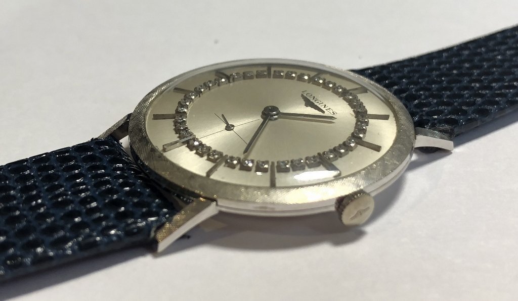 14k diamond Longines watch, c.1965 - 3