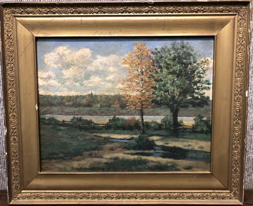 Ptg of trees by J.W.Hurrell Watts(Canadian 19th)