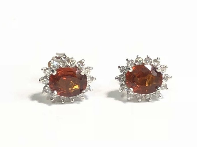 14k diamond and spessartite garnet earrings, 1.8dwts
