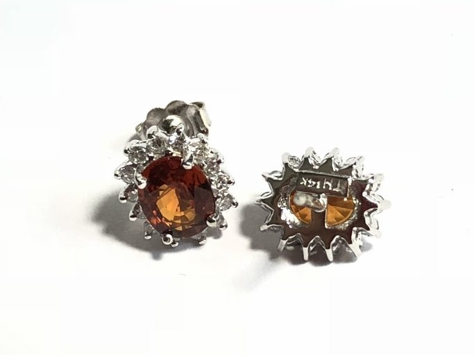 14k diamond and spessartite garnet earrings, 1.8dwts - 5