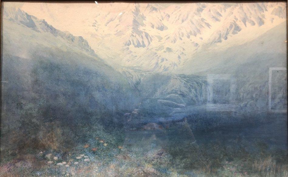 Watercolor of valley, by George Elbert Burr,c.1880 - 2