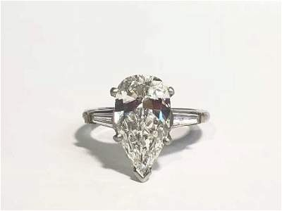 2.48 ct pear VVS2 H color diamond ring GIA report