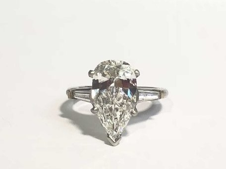 2.48 ct pear VVS2 H color diamond ring GIA report