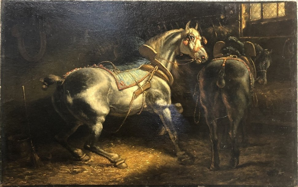 Ptg of stable horses, attrib Theodore Gericault, 19thc