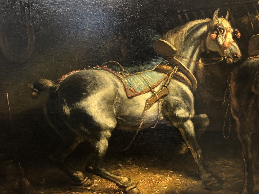 Ptg of stable horses, attrib Theodore Gericault, 19thc - 2