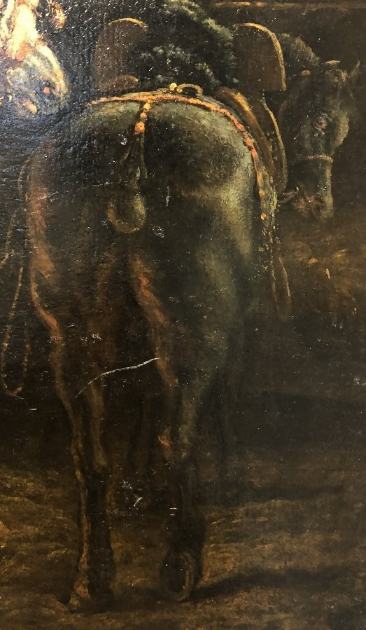 Ptg of stable horses, attrib Theodore Gericault, 19thc - 3
