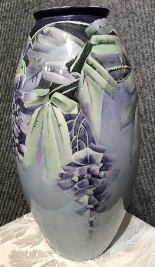 Belleek painted vase, c.1900